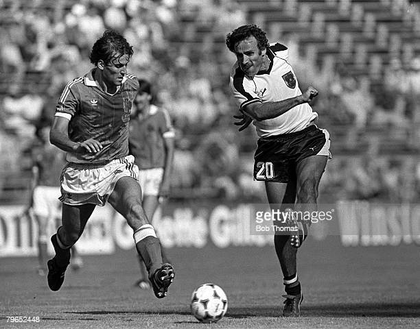 Football 1982 World Cup Finals Second Phase Group D Madrid Spain 28th June 1982 France 1 v Austria 0 Austria's Kurt Welzl shoots past France's...