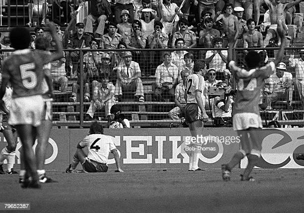 Football 1982 World Cup Finals Second Phase Group D Madrid Spain 4th July 1982 France 4 v Northern Ireland 1 France's Dominique Rocheteau celebrates...