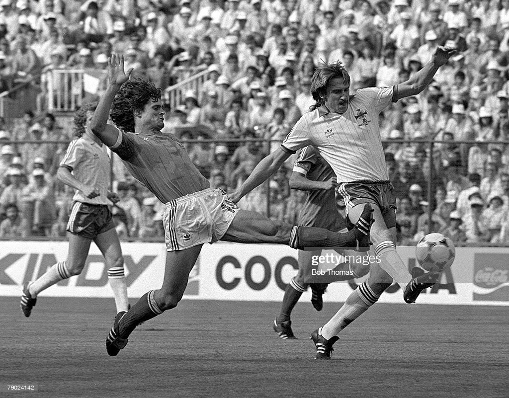 Football, 1982 World Cup Finals, Second Phase, Madrid, Spain, 1st July 1982, Northern Ireland 1 v France 4, Northern Ireland's John McClelland is challenged by France's Didier Six during the Group D match at the Vicente Calderon Stadium