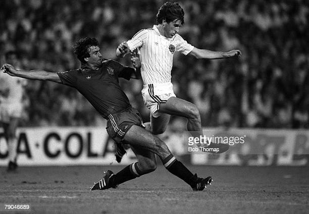 Football 1982 World Cup Finals Valencia Spain 20th June 1982 Spain 2 v Yugoslavia 1 Yugoslavia's Safet Susic is challenged for the ball by Spain's...