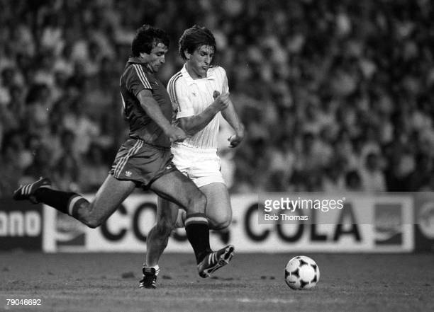 Football 1982 World Cup Finals Valencia Spain 20th June 1982 Spain 2 v Yugoslavia 1 Yugoslavia's Safet Susic moves in to challenge Spain's Jose...