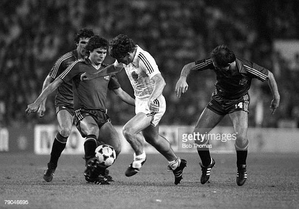 Football 1982 World Cup Finals Valencia Spain 20th June 1982 Spain 2 v Yugoslavia 1 Yugoslavia's Safet Susic is chaleenged for the ball by Spain's...