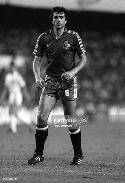 Football 1982 World Cup Finals Valencia Spain 20th June 1982 Spain 2 v Yugoslavia 1 Spain's Jose Alesanco during the Group E match