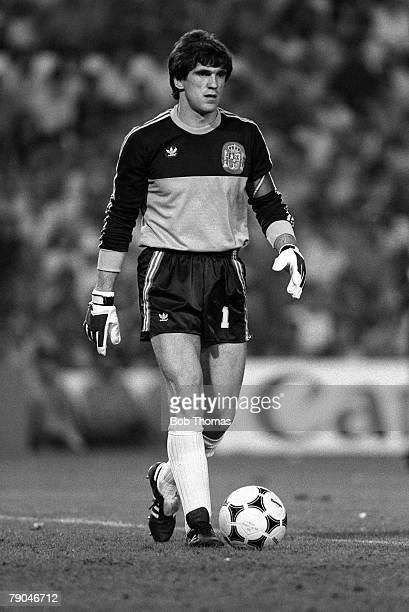 Football 1982 World Cup Finals Valencia Spain 20th June 1982 Spain 2 v Yugoslavia 1 Spanish goalkeeper Luis Arconada with the ball at his feet during...
