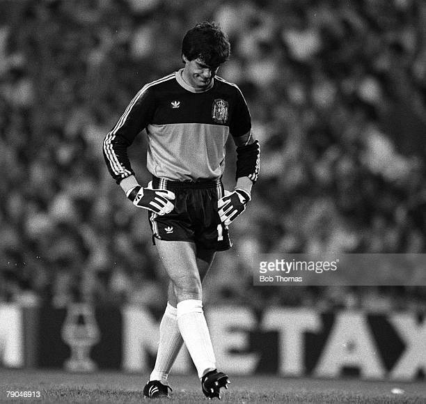 Football 1982 World Cup Finals Valencia Spain 25th June 1982 Spain 0 v Northern Ireland 1 Spanish goalkeeper Luis Arconada looks down in disgust...