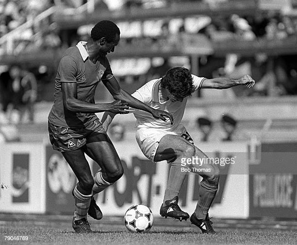 Football 1982 World Cup Finals Vigo Spain 23rd June 1982 Italy 1 v Cameroon 1 Italy's Paolo Rossi on the ball challenged by Cameroon's Michel Kaham...