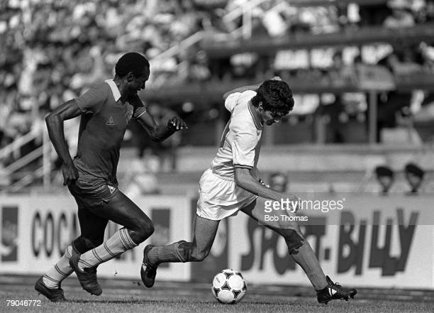 Football 1982 World Cup Finals Vigo Spain 23rd June 1982 Italy 1 v Cameroon 1 Italy's Paolo Rossi on the ball watched by Cameroon's Michel Kaham...