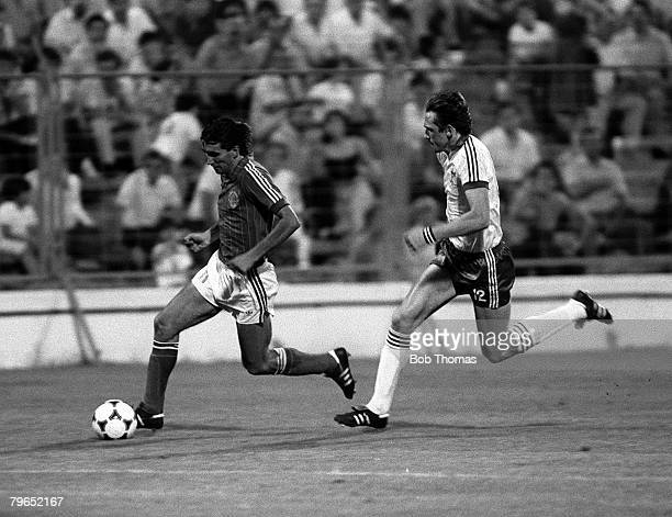 Football 1982 World Cup Finals Zaragoza Spain 17th June 1982 Northern Ireland 0 v Yugoslavia 0 Yugoslavia's Zlatko Vujovic is chased for the ball by...