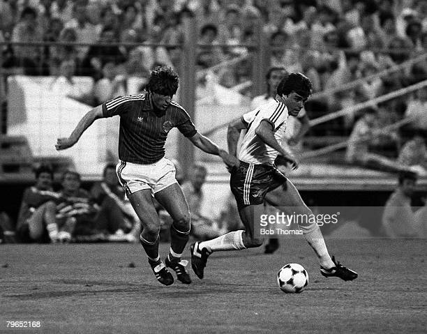 Football 1982 World Cup Finals Zaragoza Spain 17th June 1982 Northern Ireland 0 v Yugoslavia 0 Yugoslavia's Safet Susic battles for the ball with...