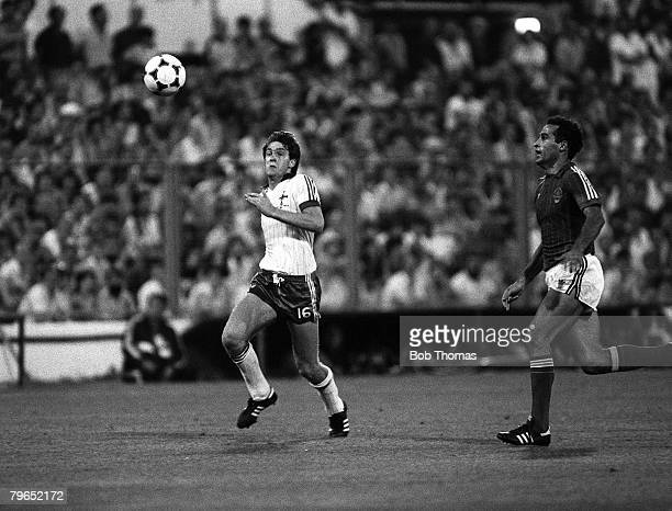 Football 1982 World Cup Finals Zaragoza Spain 17th June 1982 Northern Ireland 0 v Yugoslavia 0 Yugoslavia's Nenad Stojkovic challenges Northern...
