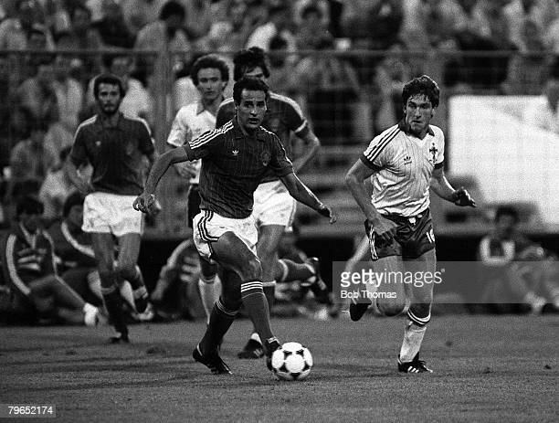 Football 1982 World Cup Finals Zaragoza Spain 17th June 1982 Northern Ireland 0 v Yugoslavia 0 Yugoslavia's Nenad Stojkovic runs away from Northern...