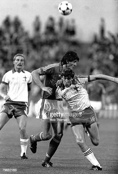 Football 1982 World Cup Finals Zaragoza Spain 17th June 1982 Northern Ireland 0 v Yugoslavia 0 Yugoslavia's Nikolae Jovanovic is beaten to the ball...