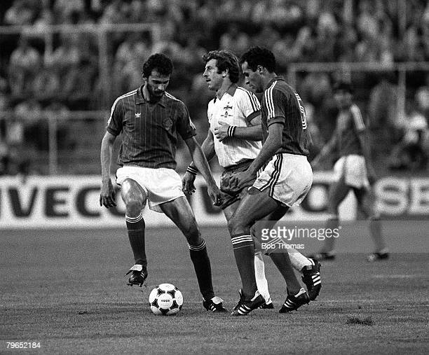Football 1982 World Cup Finals Zaragoza Spain 17th June 1982 Northern Ireland 0 v Yugoslavia 0 Yugoslavia's Milos Hrstic and Nenad Stojkovic combine...