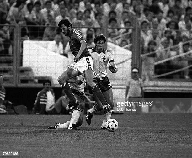 Football 1982 World Cup Finals Zaragoza Spain 17th June 1982 Northern Ireland 0 v Yugoslavia 0 Northern Ireland's Norman Whiteside takes the ball...