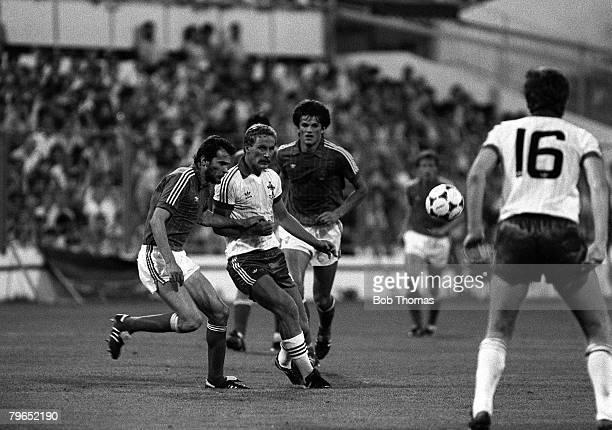 Football 1982 World Cup Finals Zaragoza Spain 17th June 1982 Northern Ireland 0 v Yugoslavia 0 Northern Ireland's Billy Hamilton plays the ball past...