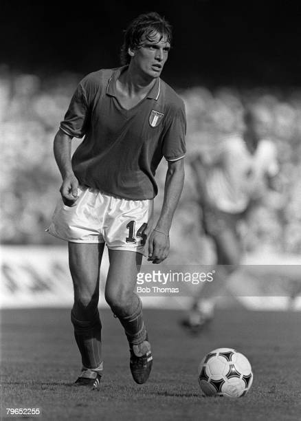 Football 1982 World Cup Semi Final Barcelona Spain 8th July 1982 Italy 2 v Poland 0 Italy's Marco Tardelli on the ball