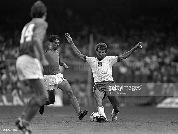 Football 1982 World Cup Semi Final Barcelona Spain 8th July 1982 Italy 2 v Poland 0 Poland's Stefan Majewski is tackled by Italy's Alessandro...