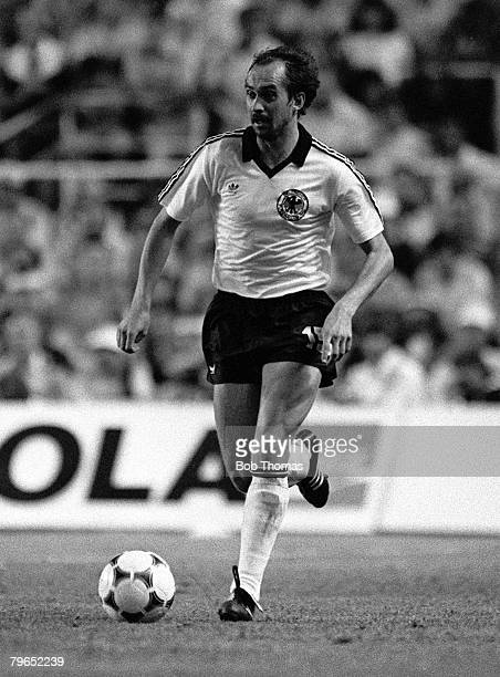 Football 1982 World Cup Semi Final Seville Spain 8th July 1982 West Germany 3 v France 3 aet West Germany's Uli Stielike on the ball