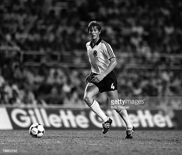 Football 1982 World Cup Semi Final Seville Spain 8th July 1982 West Germany 3 v France 3 aet West Germany's Karl Heinz Foerster on the ball