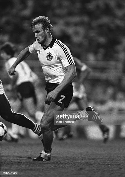 Football 1982 World Cup Semi Final Seville Spain 8th July 1982 West Germany 3 v France 3 aet West Germany's Hans Peter Briegel