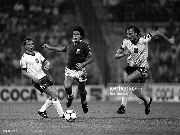 Football 1982 World Cup Third Place PlayOff Alicante Spain 10th July 1982 Poland 3 v France 2 France's Manuel Amoros races through between Poland's...