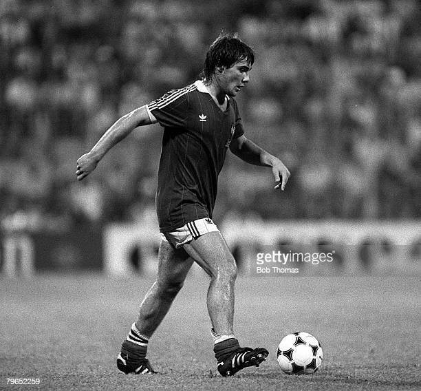Football 1982 World Cup Third Place PlayOff Alicante Spain 10th July 1982 Poland 3 v France 2 France's Bruno Bellone on the ball