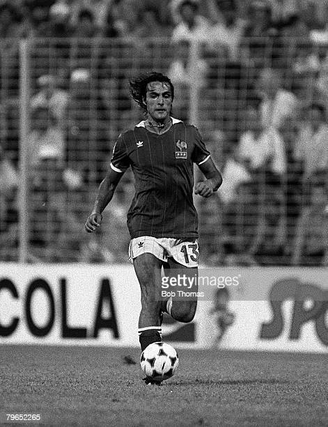 Football 1982 World Cup Third Place PlayOff Alicante Spain 10th July 1982 Poland 3 v France 2 France's Jean Francois Larios on the ball