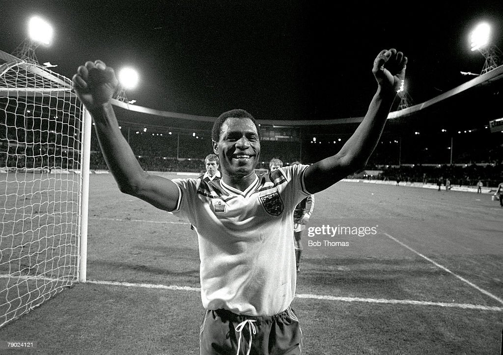 Football. 1984 European Championships Qualifier. Wembley. 15th December 1982. England 9 v Luxembourg 0. England's Luther Blissett celebrates as he leaves the field at the end of the match in which he scored a hat-trick. : News Photo