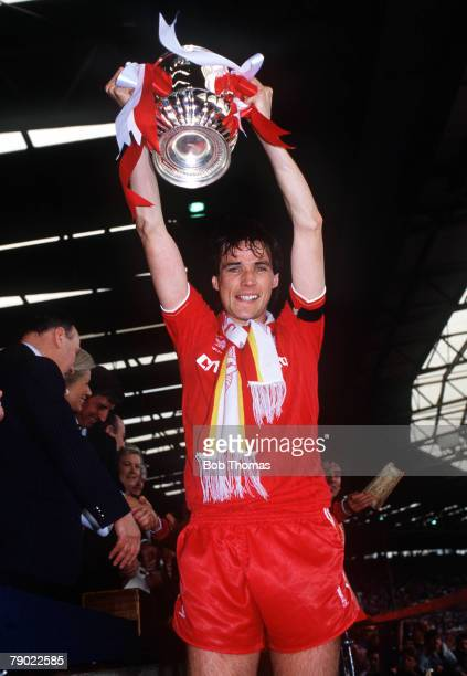 Football 1986 FA Cup Final Wembley 10th May Liverpool 3 v Everton 1 Liverpool captain Alan Hansen proudly holds aloft the trophy