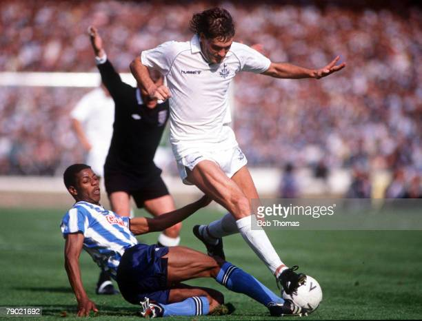 Football 1987 FA Cup Final Wembley 16th May Coventry City 3 v Tottenham Hotspur 2 Coventry's Lloyd McGrath slides in to challenge Tottenham Hotspur's...