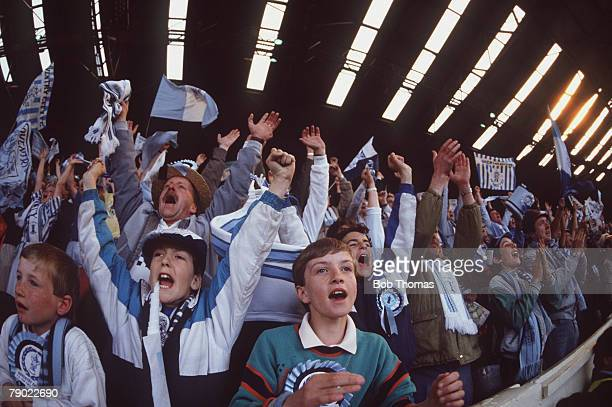 Football 1987 FA Cup Final Wembley 16th May Coventry City 3 v Tottenham Hotspur 2 Coventry fans cheering as they celebrate their team's victory in...