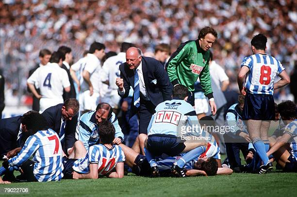 Football 1987 FA Cup Final Wembley 16th May Coventry City 3 v Tottenham Hotspur 2 Coventry players receive treatment at the end of ninety minutes as...
