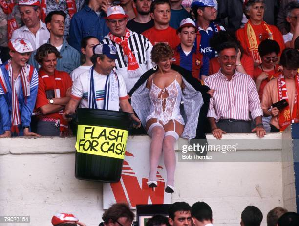 Football 1989 FA Cup Final Wembley 20th May Liverpool 3 v Everton 2 A woman wearing seethrough underwear as a charity collection for the Hillsborough...