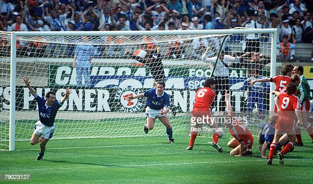 Football 1989 FA Cup Final Wembley 20th May Liverpool 3 v Everton 2 Everton players Pat Nevin and Tony Cottee celebrate after Stuart McCall had...
