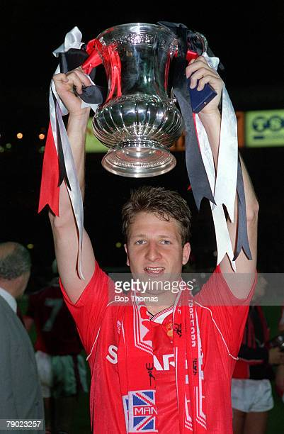 Football 1990 FA Cup Final Replay Wembley 17th May Manchester United 1 v Crystal Palace 0 Manchester United' hero Lee Martin scorer of the winning...