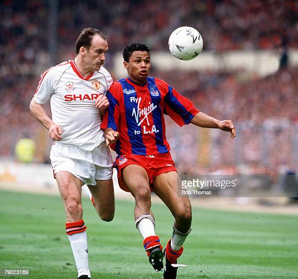 Football 1990 FA Cup Final Wembley 12th May Manchester United 3 v Crystal Palace 3 Crystal Palace's John Salako is challenged for the ball by...