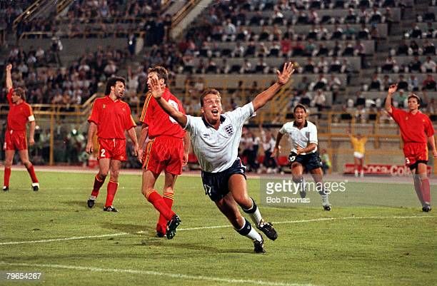 Football 1990 World Cup Second Round Bologna Italy 26th June 1990 England 1 v Belgium 0 aet England's David Platt celebrates after scoring the...