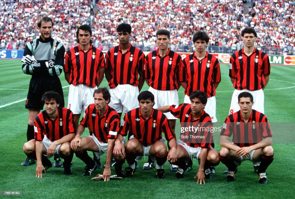 Football. 1993 European Cup Final. 26th May 1993. Olympic Stadium, Munich, Germany. Marseille 1 v A.C. Milan 0. A.C.Milan team group. : News Photo