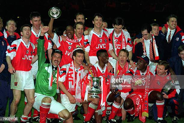 Football 1993 FA Cup Final Replay Wembley 20th May Arsenal 2 v Sheffield Wednesday 1 The Arsenal team are jubilant as they celebrate with the trophy...