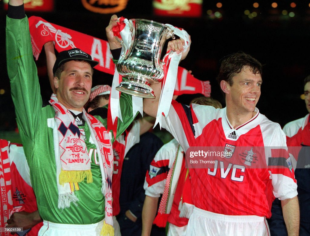 Football, 1993 FA Cup Final Replay, Wembley, 20th May, 1993, Arsenal 2 v Sheffield Wednesday 1, Arsenal's goalkeeper David Seaman and David O+Leary celebrate with the FA Cup trophy after their dramatic win