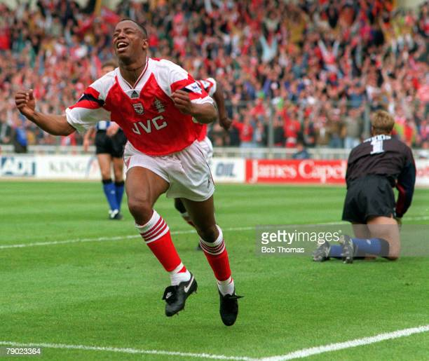 Football 1993 FA Cup Final Wembley 15th May Arsenal 1 v Sheffield Wednesday 1 Arsenal's Ian Wright turns away to celebrate after scoring his side's...