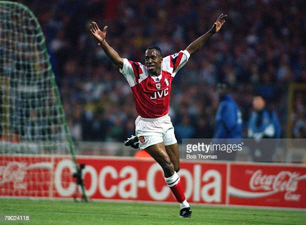 Football 1993 FA Cup Final Wembley 15th May Arsenal 1 v Sheffield Wednesday 1 Arsenal's Ian Wright celebrates after scoring the first goal