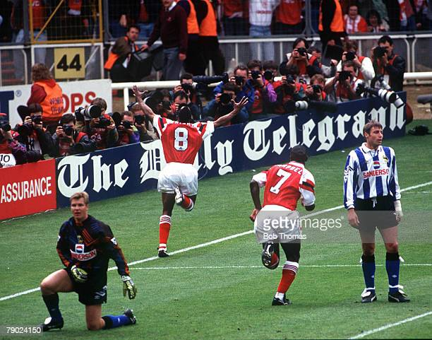 Football, 1993 FA Cup Final, Wembley, 15th May Arsenal 1 v Sheffield Wednesday 1, Arsenal's Ian Wright turns away to celebrate after scoring his...