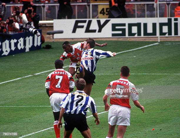 Football 1993 FA Cup Final Wembley 15th May Arsenal 1 v Sheffield Wednesday 1 Arsenal's Ian Wright leaps up to head in his side's goal