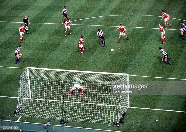 Football 1993 FA Cup Final Wembley 15th May Arsenal 1 v Sheffield Wednesday 1 An aerial view inside the Arsenal penalty box showing two Sheffield...