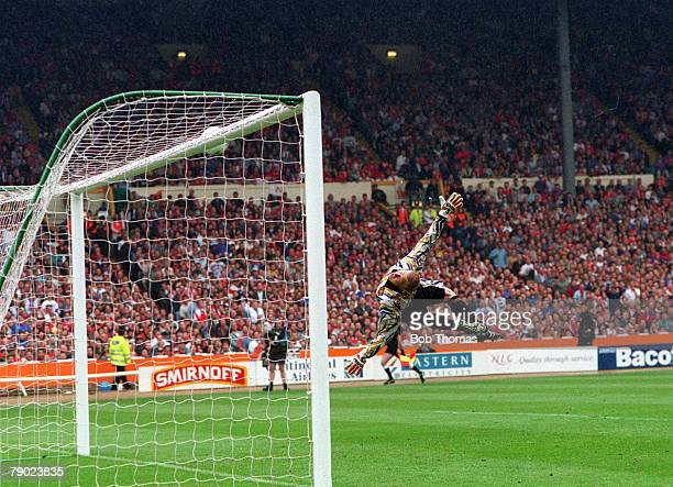 Football 1994 FA Cup Final Wembley 14th May Manchester United 4 v Chelsea 0 Manchester United goalkeeper Peter Schmeichel dives but is well beaten by...