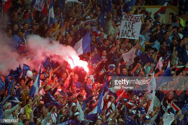 Football 1994 FA Cup Final Wembley 14th May Manchester United 4 v Chelsea 0 A crowd of Chelsea fans with banners and flares encourage their team...
