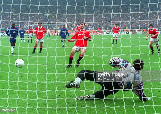 Football 1994 FA Cup Final Wembley 14th May Manchester United 4 v Chelsea 0 Manchester United's Eric Cantona scores the second of his two penalties...