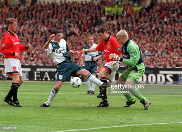 Football 1996 FA Cup Final Wembley 11th May Manchester United 1 v Liverpool 0 Action in the United goalmouth as Liverpool's Robbie Fowler causes...