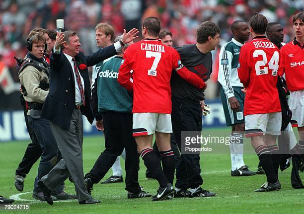Football 1996 FA Cup Final Wembley 11th May Manchester United 1 v Liverpool 0 Manchester United's manager Alex Ferguson congratulates his captain...